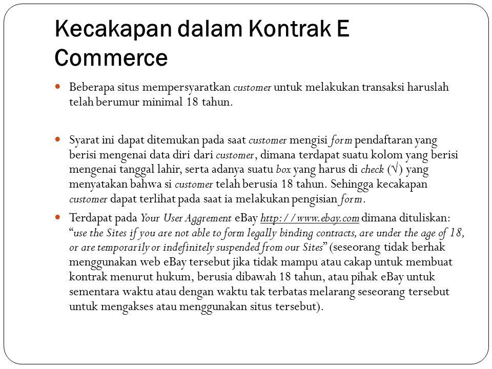 Kecakapan dalam Kontrak E Commerce