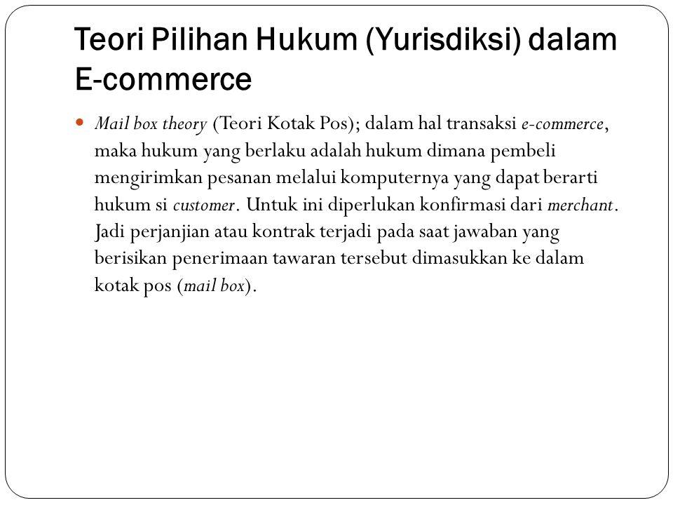 Teori Pilihan Hukum (Yurisdiksi) dalam E-commerce