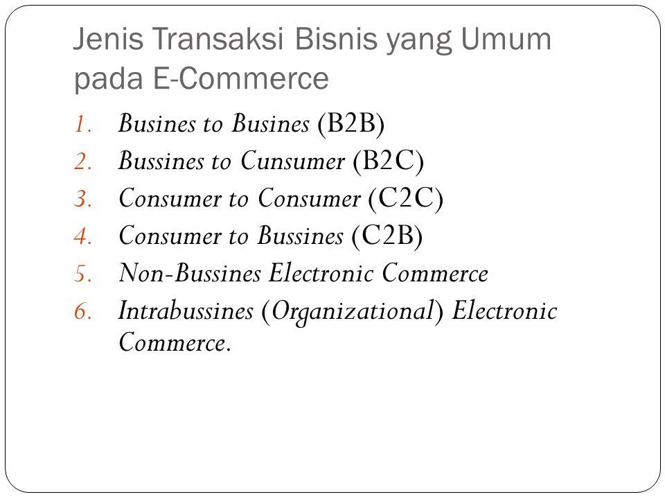 Jenis Transaksi Bisnis yang Umum pada E-Commerce