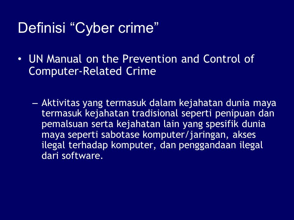 Definisi Cyber crime