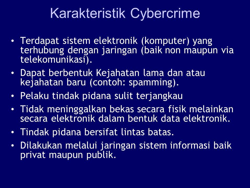 Karakteristik Cybercrime