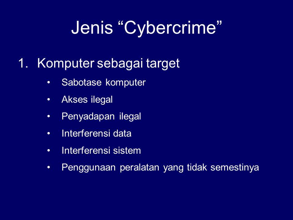 Jenis Cybercrime Komputer sebagai target Sabotase komputer