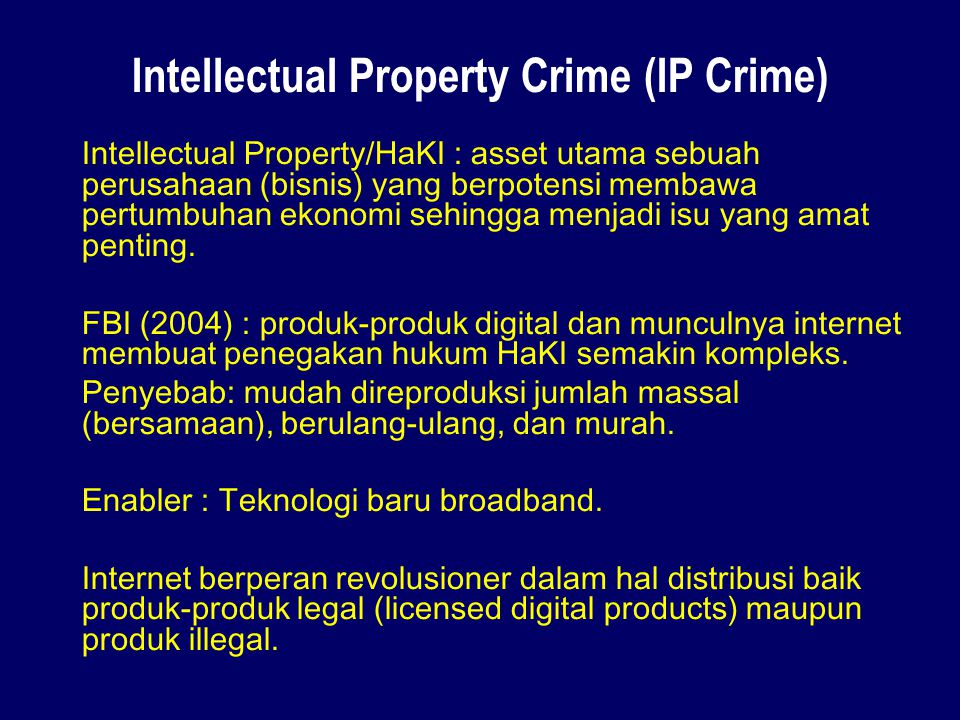 Intellectual Property Crime (IP Crime)