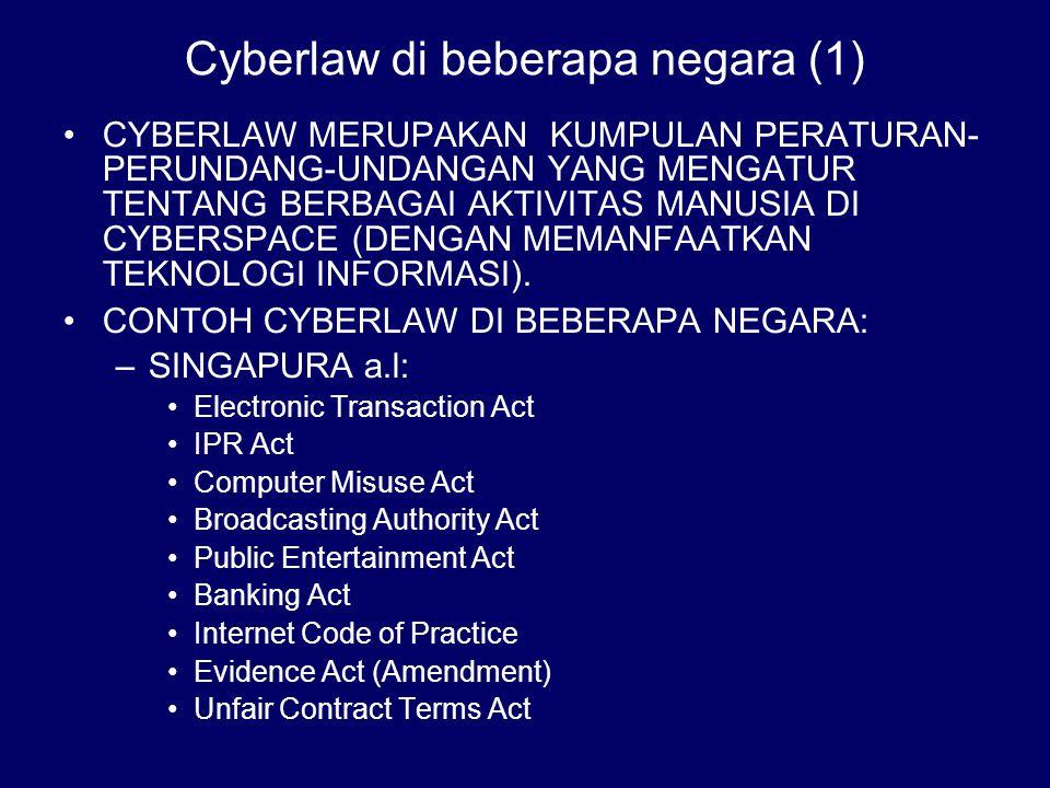 Cyberlaw di beberapa negara (1)