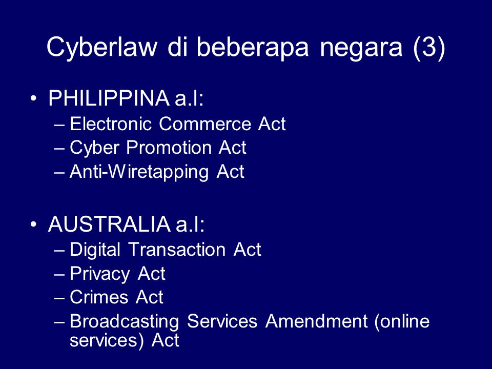 Cyberlaw di beberapa negara (3)