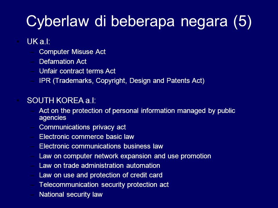 Cyberlaw di beberapa negara (5)