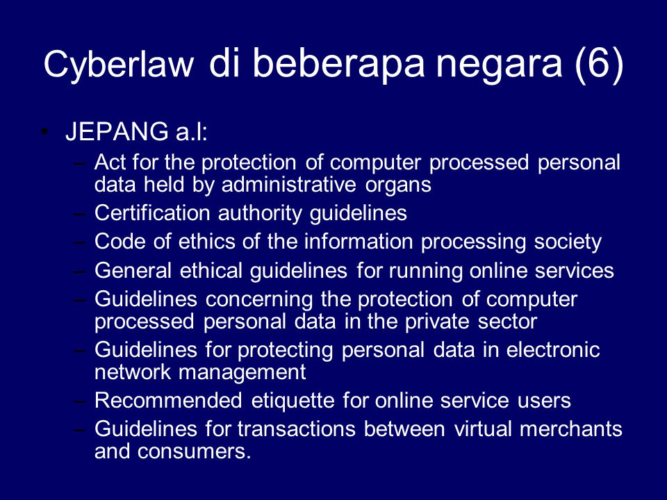 Cyberlaw di beberapa negara (6)