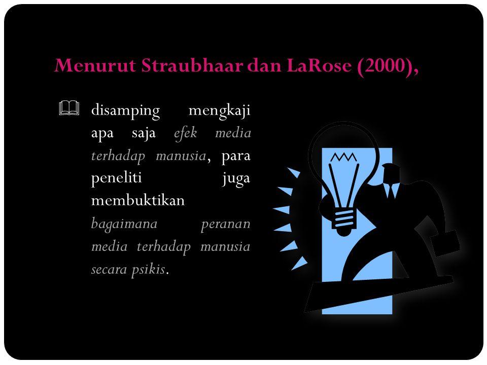Menurut Straubhaar dan LaRose (2000),