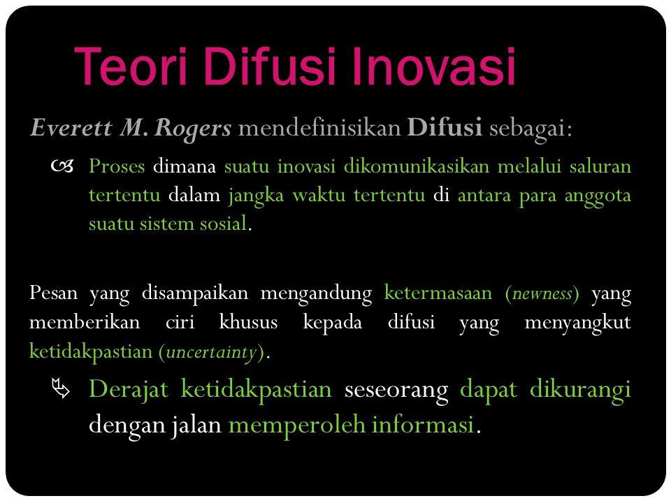 Teori Difusi Inovasi Everett M. Rogers mendefinisikan Difusi sebagai: