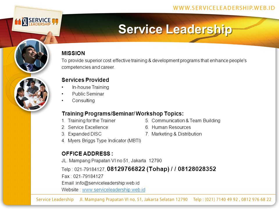 Service Leadership MISSION Services Provided