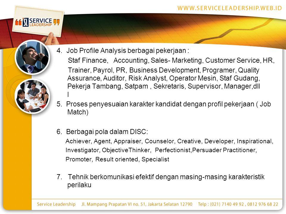 4. Job Profile Analysis berbagai pekerjaan :