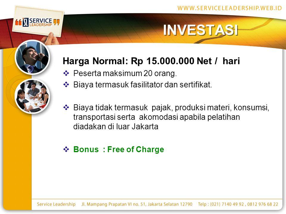 INVESTASI Harga Normal: Rp 15.000.000 Net / hari