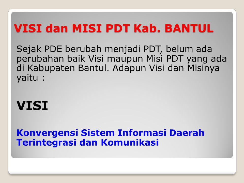 VISI dan MISI PDT Kab. BANTUL