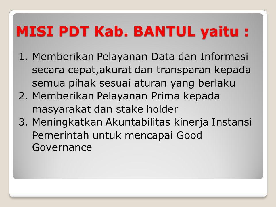 MISI PDT Kab. BANTUL yaitu :