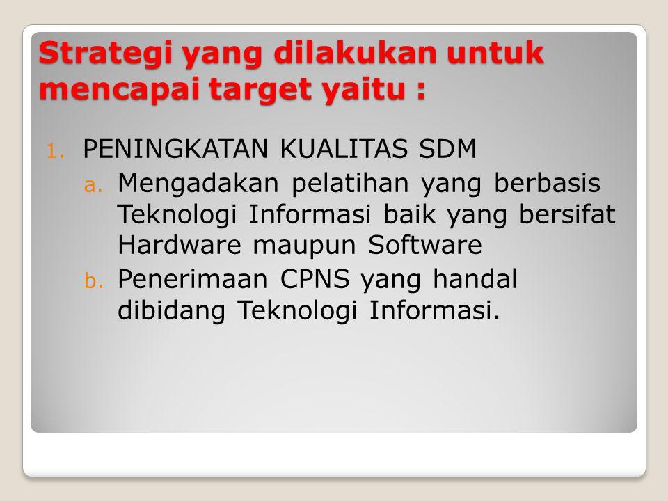Strategi yang dilakukan untuk mencapai target yaitu :