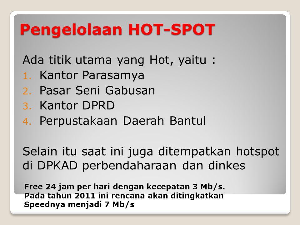 Pengelolaan HOT-SPOT Ada titik utama yang Hot, yaitu :