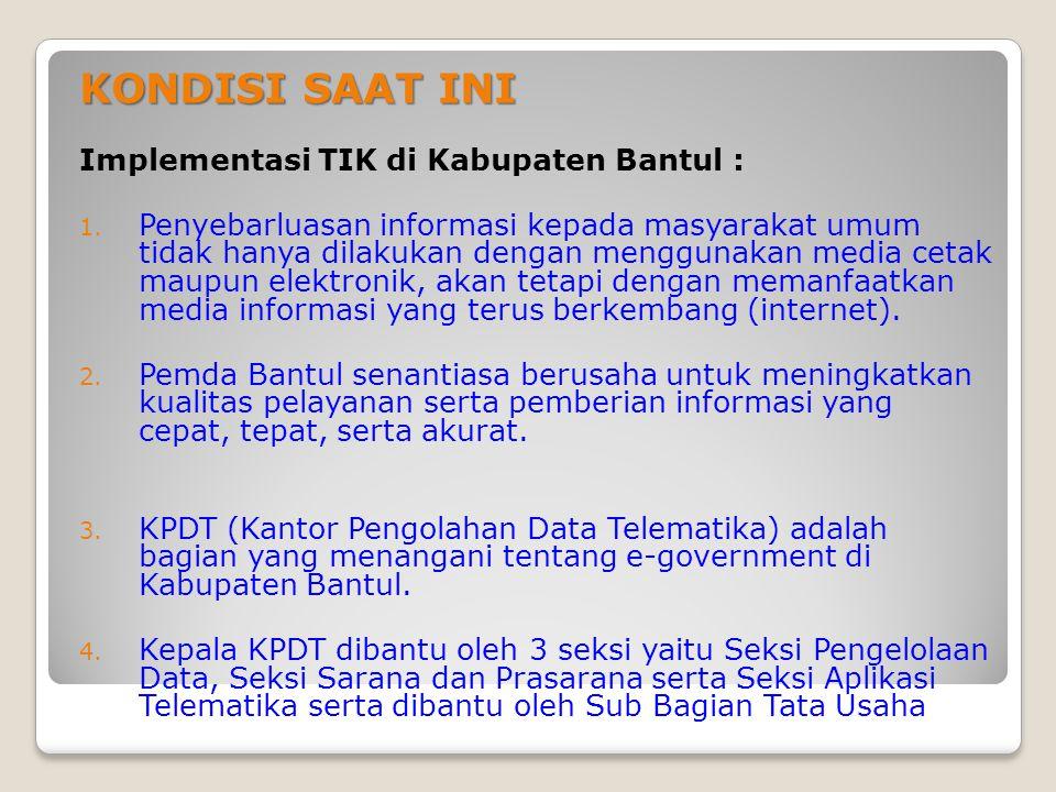 KONDISI SAAT INI Implementasi TIK di Kabupaten Bantul :