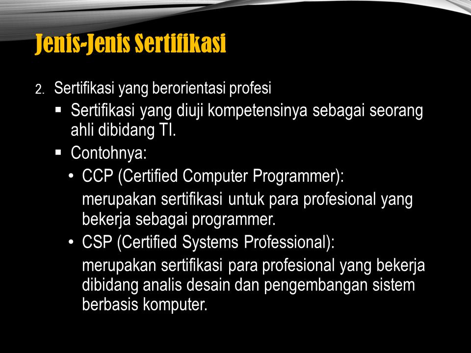 Jenis-Jenis Sertifikasi