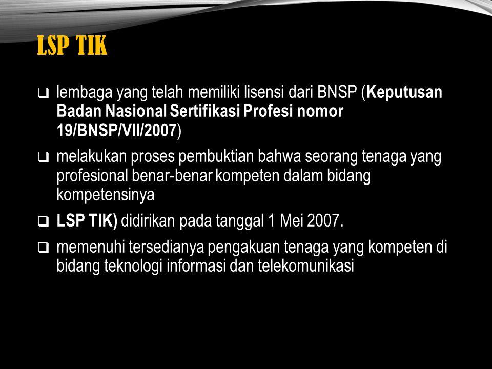 LSP TIK lembaga yang telah memiliki lisensi dari BNSP (Keputusan Badan Nasional Sertifikasi Profesi nomor 19/BNSP/VII/2007)