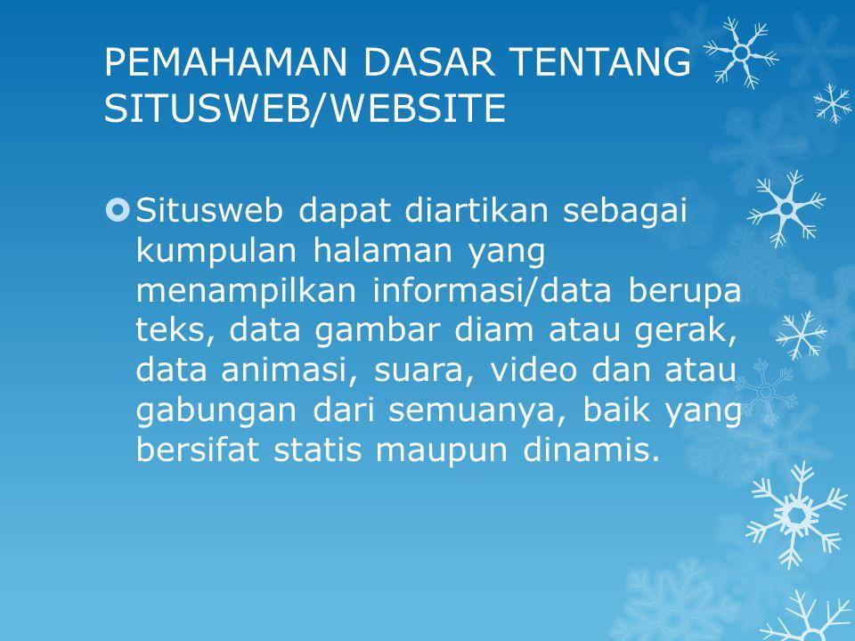 PEMAHAMAN DASAR TENTANG SITUSWEB/WEBSITE