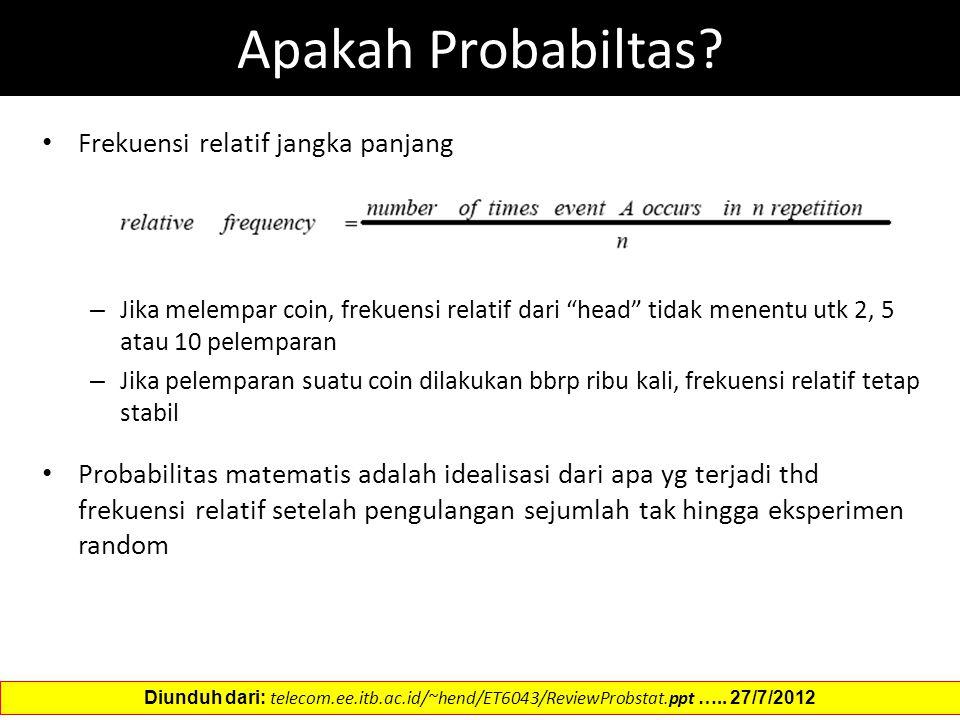 Apakah Probabiltas Frekuensi relatif jangka panjang