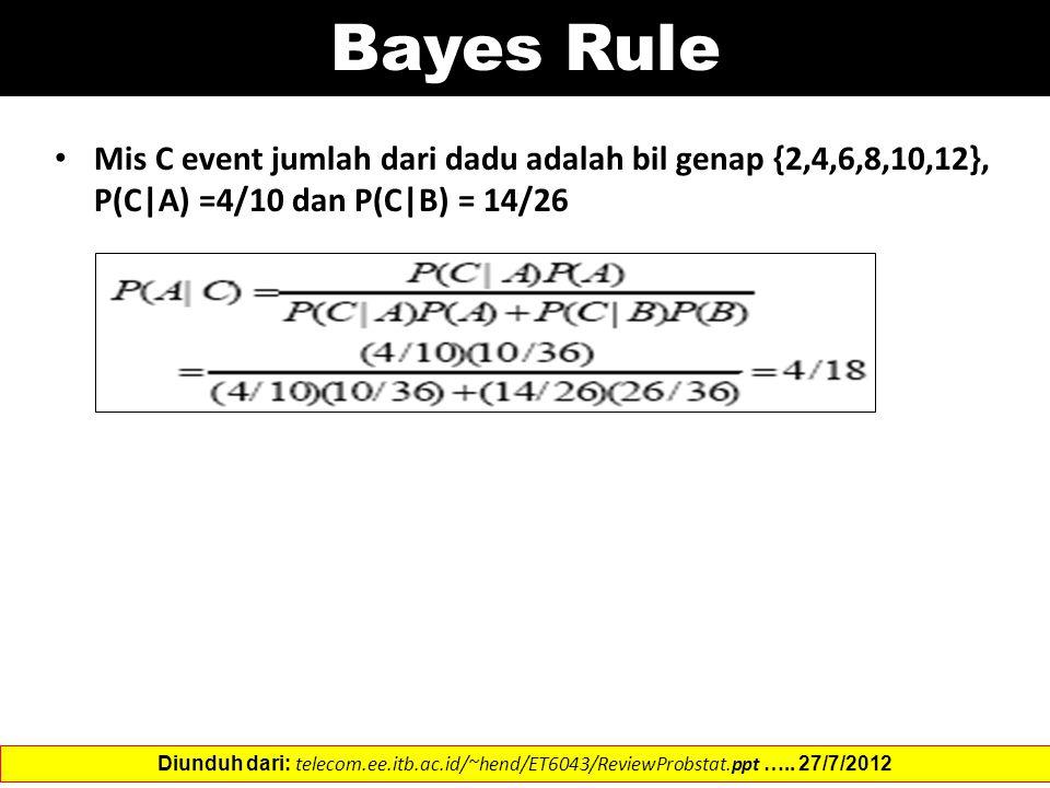 Bayes Rule Mis C event jumlah dari dadu adalah bil genap {2,4,6,8,10,12}, P(C|A) =4/10 dan P(C|B) = 14/26.