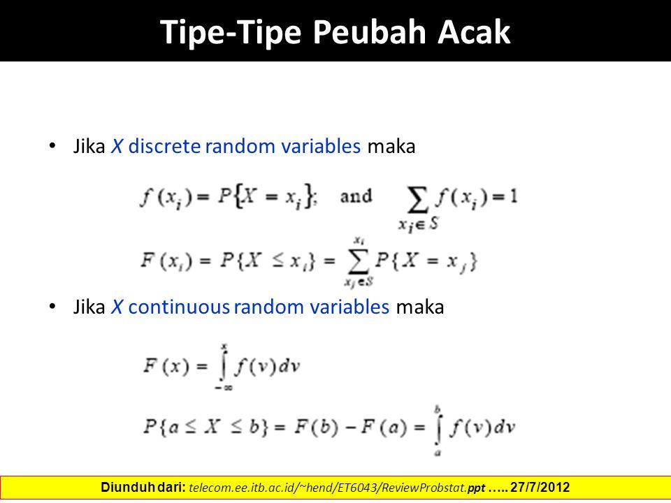 Tipe-Tipe Peubah Acak Jika X discrete random variables maka