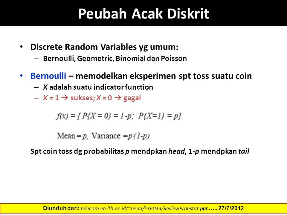 Peubah Acak Diskrit Discrete Random Variables yg umum: