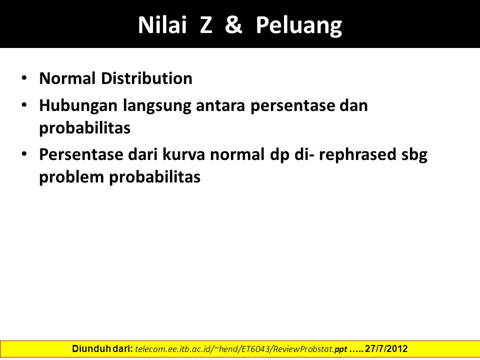 Nilai Z & Peluang Normal Distribution