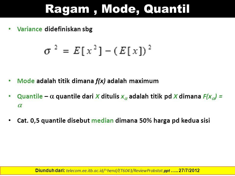 Ragam , Mode, Quantil Variance didefiniskan sbg