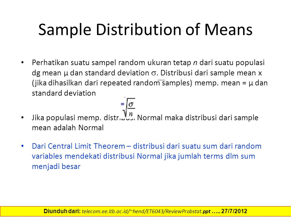 Sample Distribution of Means