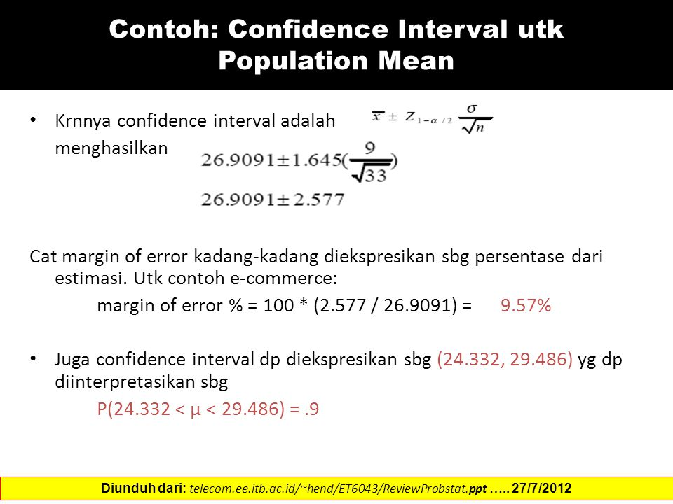 Contoh: Confidence Interval utk Population Mean
