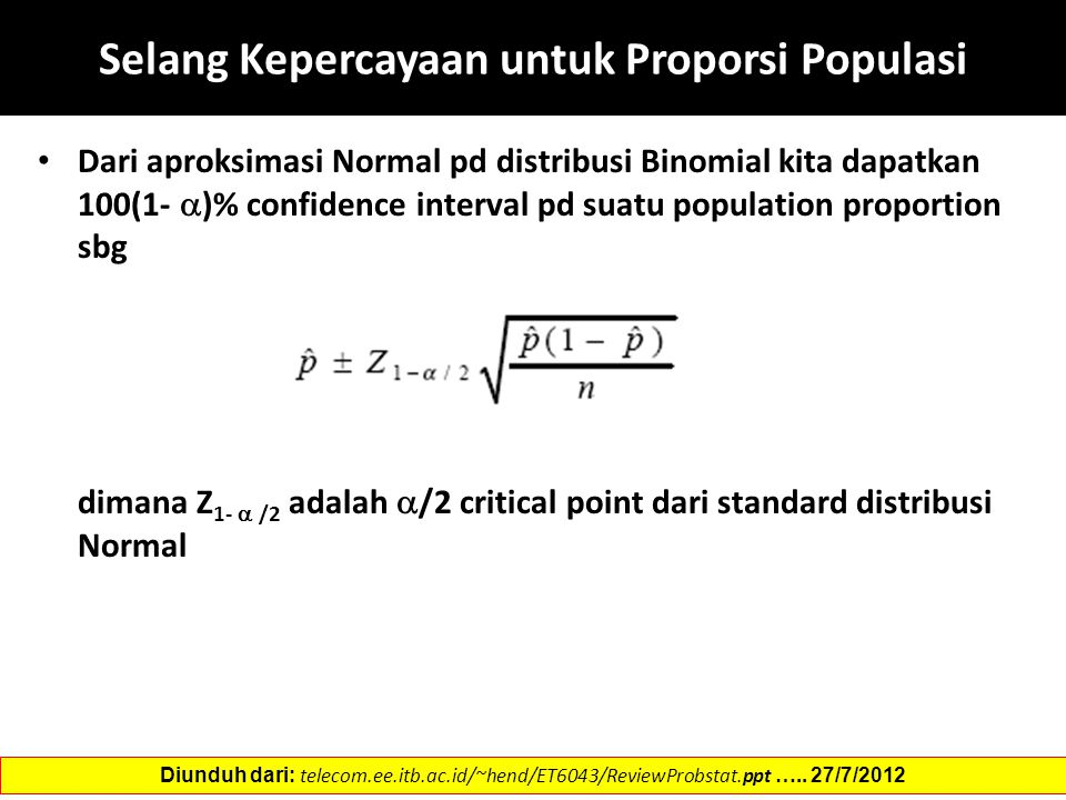 Selang Kepercayaan untuk Proporsi Populasi