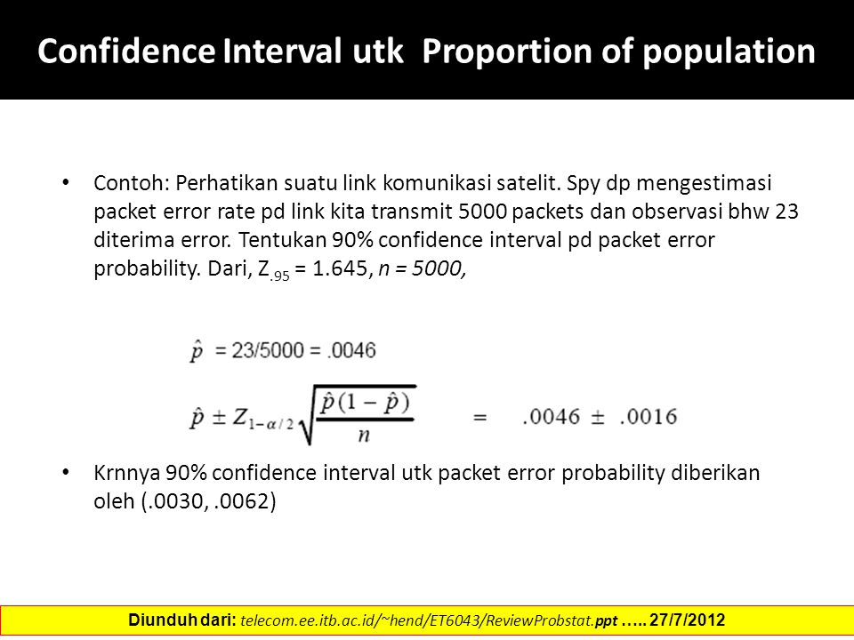 Confidence Interval utk Proportion of population