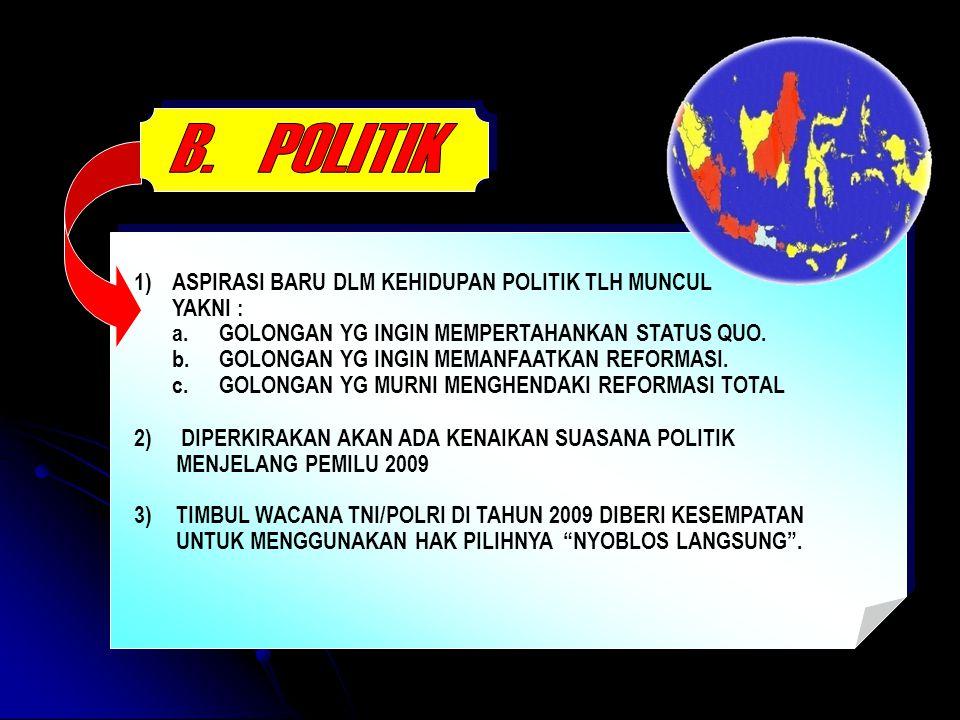 B. POLITIK 1) ASPIRASI BARU DLM KEHIDUPAN POLITIK TLH MUNCUL YAKNI :