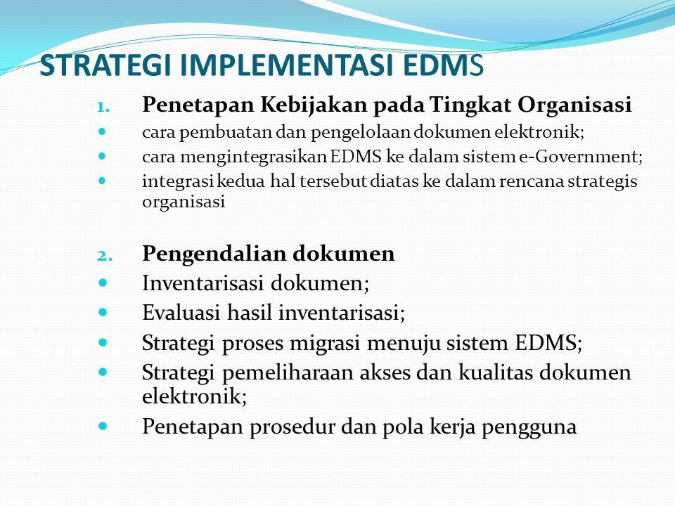 STRATEGI IMPLEMENTASI EDMS