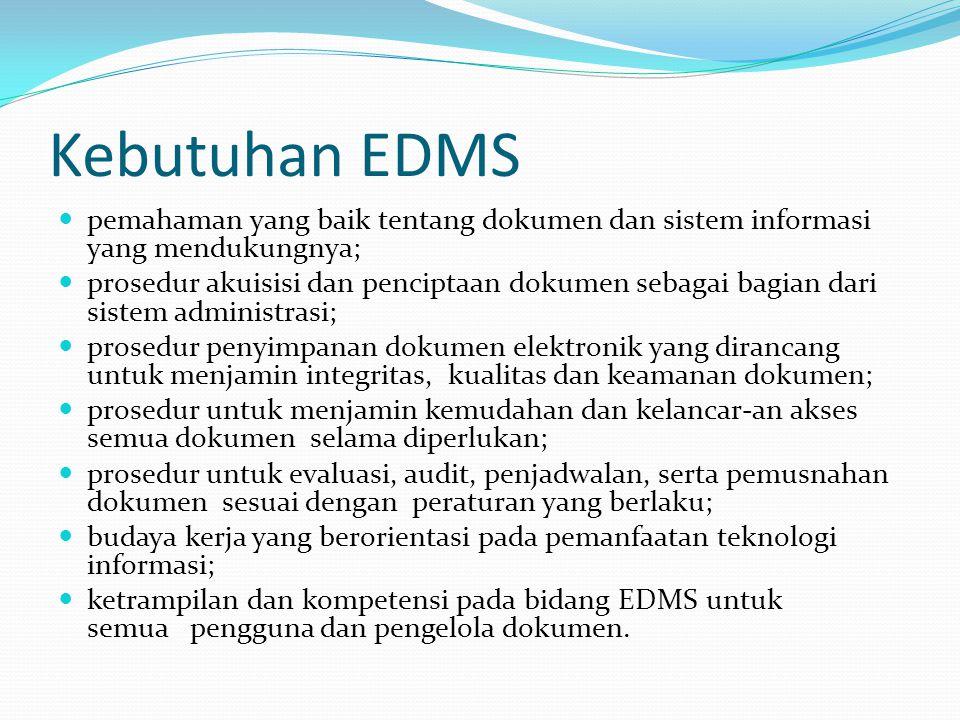 Kebutuhan EDMS pemahaman yang baik tentang dokumen dan sistem informasi yang mendukungnya;