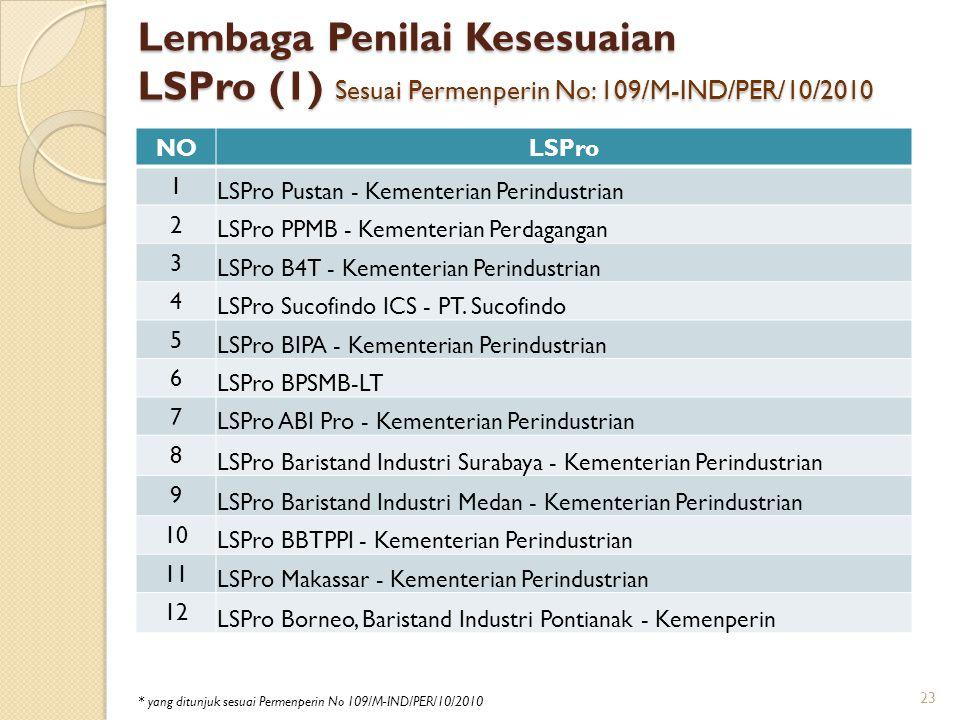 Lembaga Penilai Kesesuaian LSPro (1) Sesuai Permenperin No: 109/M-IND/PER/10/2010