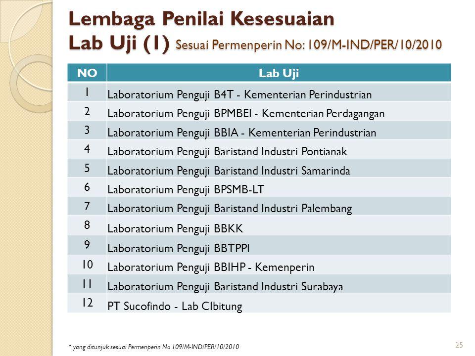 Lembaga Penilai Kesesuaian Lab Uji (1) Sesuai Permenperin No: 109/M-IND/PER/10/2010