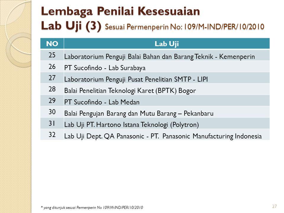 Lembaga Penilai Kesesuaian Lab Uji (3) Sesuai Permenperin No: 109/M-IND/PER/10/2010