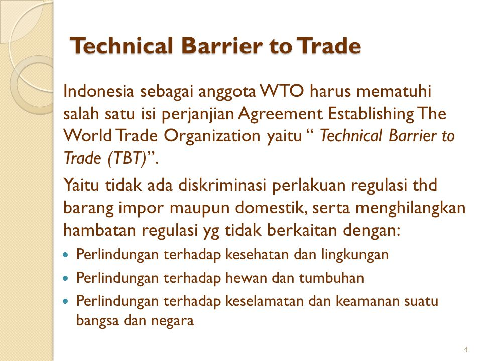 Technical Barrier to Trade