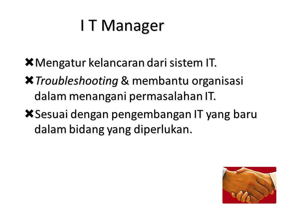 I T Manager Mengatur kelancaran dari sistem IT.