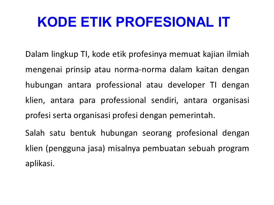 KODE ETIK PROFESIONAL IT