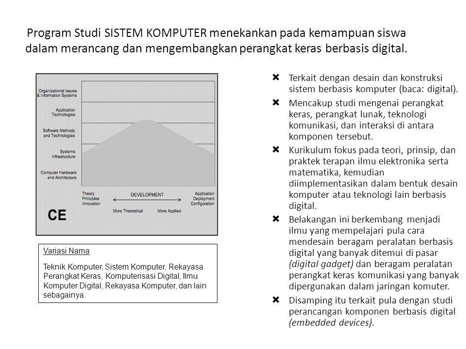 Program Studi SISTEM KOMPUTER menekankan pada kemampuan siswa dalam merancang dan mengembangkan perangkat keras berbasis digital.