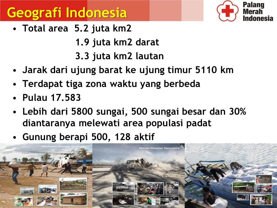 Geografi Indonesia Total area 5.2 juta km2 1.9 juta km2 darat