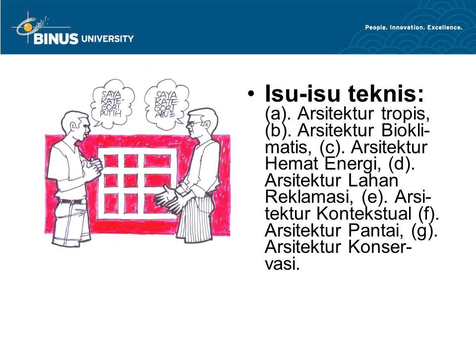 Isu-isu teknis: (a). Arsitektur tropis, (b)