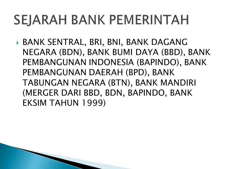 SEJARAH BANK PEMERINTAH