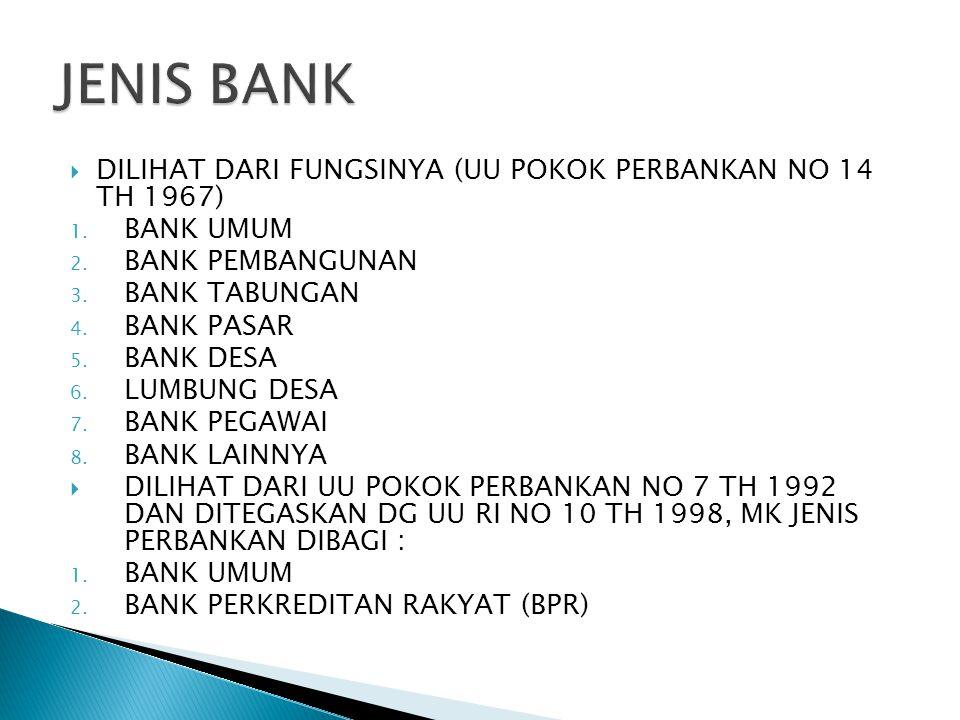 JENIS BANK DILIHAT DARI FUNGSINYA (UU POKOK PERBANKAN NO 14 TH 1967)