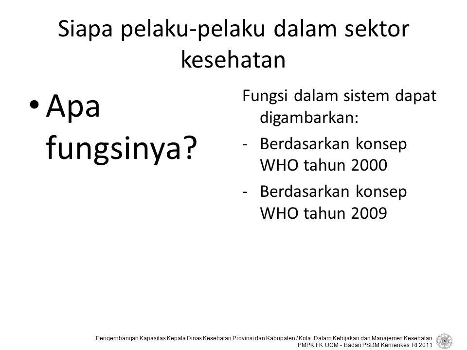 Siapa pelaku-pelaku dalam sektor kesehatan
