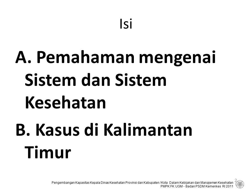 Isi A. Pemahaman mengenai Sistem dan Sistem Kesehatan B. Kasus di Kalimantan Timur